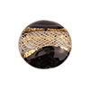 Disc 20mm Black with Reticello and 24kt Gold Foil Murano Glass Bead