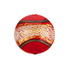 Disc 20mm Red with Reticello and 24kt Gold Foil Murano Glass Bead