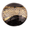 Reticello Disc Opaque Black with Gold and White Reticello, 30mm