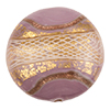 Reticello Disc Opaque Viola, Purple with Gold and White Reticello, 30mm