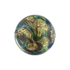 Aqua, Purple 24kt Gold Foil Sospire, 20mm Disc, Murano Glass Bead