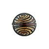 Black & Red with 24kt Gold Filigrana Disc 17mm Lampwork Murano Glass Bead