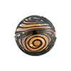 Black & Maroon with 24kt Gold Disc 20mm Lampwork Murano Glass Bead