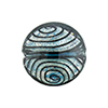 Black and Blue White Gold Disc 20mm Lampwork Murano Glass Bead