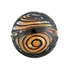 Black & Maroon with 24kt Gold Filigrana Disc 23mm Lampwork Murano Glass Bead