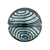 Black and Blue White Gold Filigrana Disc 23mm Lampwork Murano Glass Bead