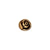 Antique Gold Plated Pewter Round Rose Bead, 7.75mm