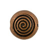 Spiral Pattern Antique Copper Plated Pewter Bead, 12mm