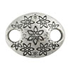 Floral Oval Hammer Tone Pewter Link, Silver Plated, Antique Finish, 17mm x 13mm