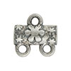 Flower Pattern 2-1 Pewter Link, Silver Plated, Antique Finish