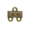 Jasmine Pattern 2-1 Pewter Link, Brass Plated, Antique Finish