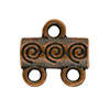 Spiral Pattern 2-1 Pewter Link, Copper Plated, Antique Finish