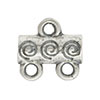 Spiral Pattern 2-1 Pewter Link, Silver Plated, Antique Finish