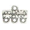 Flower Pattern 3-1 Pewter Link, Silver Plated, Antique Finish