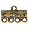 Floral Pattern 4-1 Pewter Link, Brass Plated, Antique Finish