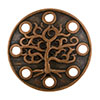 Tree Motif Round Pewter Link, Copper Plated, Antique Finish, 16mm