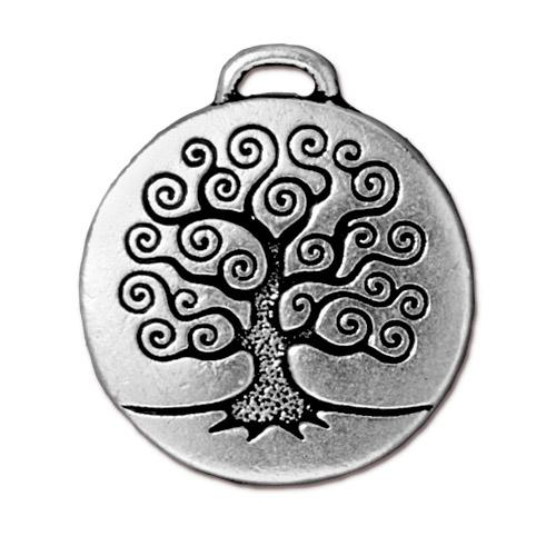 Tree of life pendant 25mm antique fine silver plated pewter quick view aloadofball Image collections