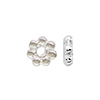 Sterling Silver Daisy Spacer Bead, 4.2mm, Bright Silver