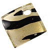 Curved Diagonal Square Murano Glass Pendant, 30mm, Gold Foil w/Black Stripes