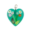 Sea Green Millefiori Murano Glass Heart Pendant w/Bouquet Floral Pattern