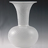 Murano Glass Bud Vase Round White Filigrana Swirls