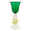 Murano Mouth Blown Emerald Wine Glass with Gold Classic Dolphin Stem