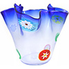 Murano Glass Vase Clear and Blue with Slices of Millefiori