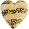 Murano Glass Beads White Ca'd'oro Flat Focal Hearts Striped