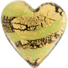 Murano Glass Beads Green Ca'd'oro Flat Focal Hearts Striped