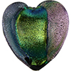 Black Dichroic Venetian Heart Beads 30mm Venetian Bead