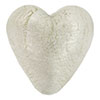 Crystal Silver Foil Heart 28mm, Murano Glass Beads