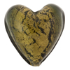 Olivine 24kt Gold Foil Heart 30mm Murano Glass Bead