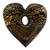 Black Gold Foil Flat Heart Pendant Center Hole 30mm Venetian Bead