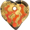 Black and Orange Flat Exterior Gold Foil Decorated Pendant Heart 45mm