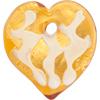 Topaz and White Flat Exterior Gold Foil Decorated Pendant Heart 45mm