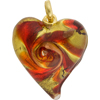 Lampwork Murano Glass Heart Pendant Red Gold Aventurina Swirl