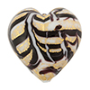Murano Glass Bead Monet Heart 28mm Exterior Gold Black