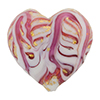 Murano Glass Bead Monet Heart 28mm Exterior Gold Rubino