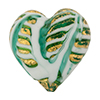 Murano Glass Bead Monet Heart 28mm Exterior Gold Marino