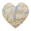 Murano Glass Bead Monet Heart 28mm Exterior Gold Blue