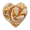 Murano Glass Bead Monet Heart 28mm Exterior GoldTopaz