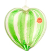 Green Striped 24kt Gold Foil Heart Ornament Murano Glass
