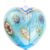 Aqua Millefiori 24kt Gold Foil Heart Ornament Murano Glass