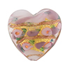 Flat Heart with 24kt Gold Foil, Flowers in Opaque Pink, 25mm Murano Glass Bead