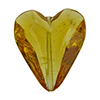 Beveled Murano Glass Heart 26mm Light Topaz Transparent