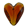 Beveled Murano Glass Heart 26mm Topaz Transparent
