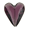 Beveled Murano Glass Heart 26mm Amethyst Transparent