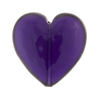 Murano Glass Bead Heart 25mm Flat Transparent Plum