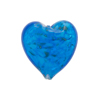 Murano Glass Bead Sommerso Heart 20mm, Dark Aqua