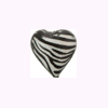 Murano Glass Sparkle Heart 15mm Black & White Tigrato